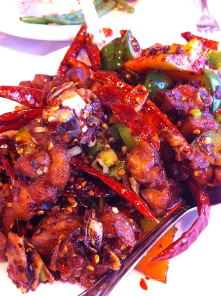 Dinner at Lao Szechuan: spicy  double-fried chicken, among lots more deliciousness. This is a place evry1 shud go