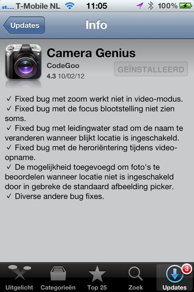 Why not to use automatic translation! [Dutch screenshot Camera Genius by CodeGoo] Tap &lt;-&gt; Leidingwater