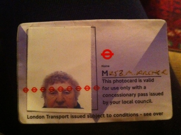 My mate&#039;s nan in her travelcard pic. This is the best thing I have ever seen in my life, period. 