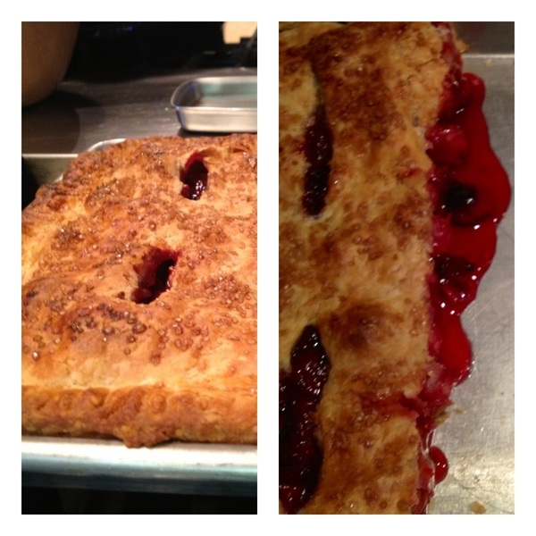 Summer dinner 4 friends: sour cherry slab pie w bl currants&apricots, Jeni's rstd strawb-buttermilk ice cream