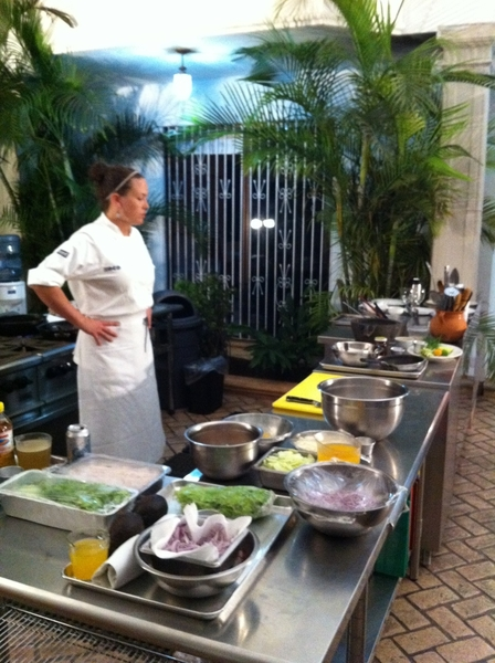 Sous chef Shaw Lash getting last prep 4 my class in Merida Yuc 2nite.Teach outdoors. 75 degrees. Sour orange margs