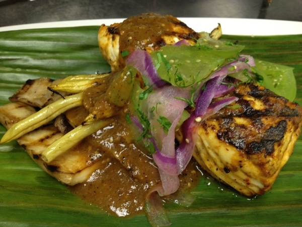 Red O, LA:new dish4menu:Mezcal-glazed halibut,grilled king trumpet shrooms,Oax pasilla chile sce,Mezcal-pkld tomatillos
