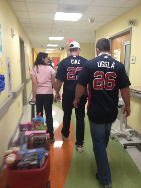 Santa Uggla and Santa Diaz are spreading the cheer @childrensatl. #ChristmasinJuly