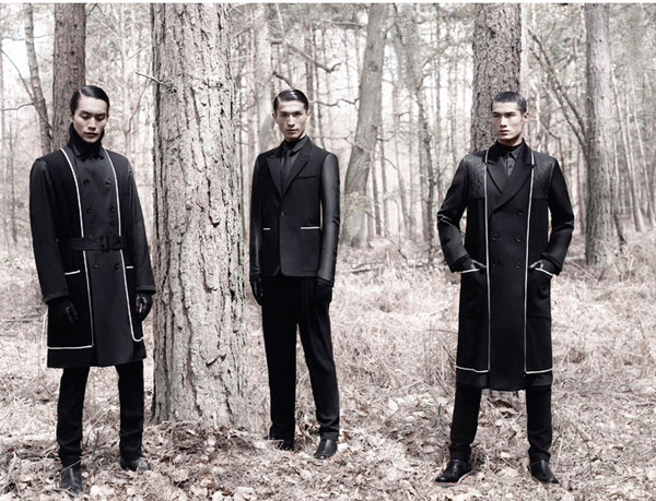 Dior Homme F/W12 ad campaign shot by Karl Lagerfeld stars Daisuke Ueda, Nan Fulong and Hao Yun Xiang 