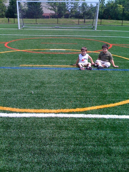 At the soccer field with boys. Bend Them Like Altobelli. I wish I had a ball.