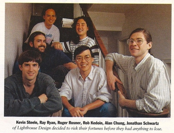 Going through NeXTWorlds from 1991 and found a classic of @rrrosner @OpenJonathan and Lighthouse Gang #NeXT #apple #sun