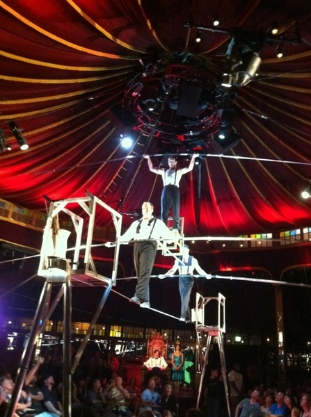 Absinthe @ Caesars: friend @TonyHernandez balances on chair on rail on shoulders of 2 guys on high wire