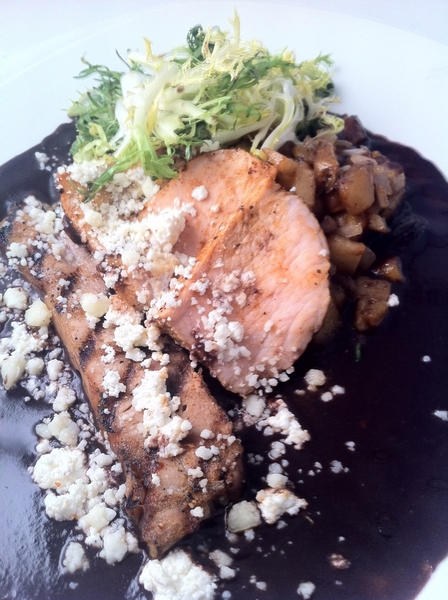 Another New Frontera Highlight: grilled pork loin and belly with morita-bl bean sauce, plantain-parsnip hash