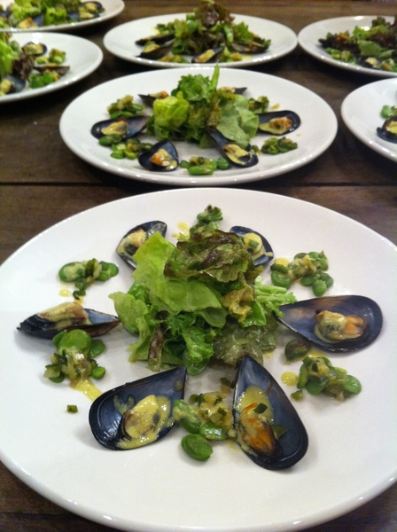 Adobe Guad dinner: 1st crs: Ensenada mussel salad w poblano-olive dressing, favas and young greens