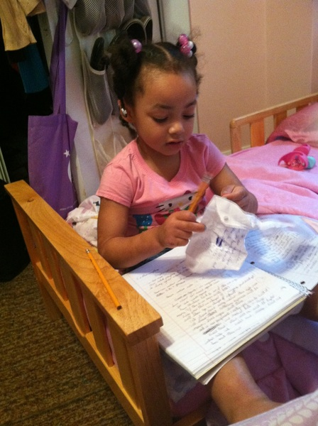 My niece studying!!