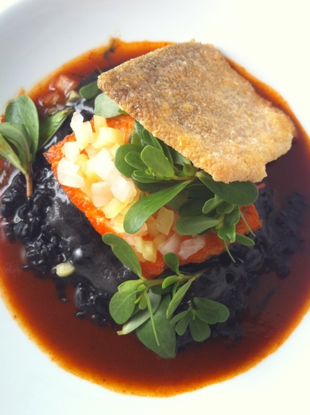 Highlight frm New Tasting Menu: Arctic Char w squid ink black rice,red chile adobo,pickled güero chile, crisp skin
