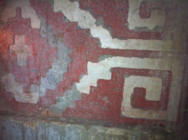"A 1000-yr-old tomb was found below the hacienda. This is a detail of ""greca"" w original paint in tomb"