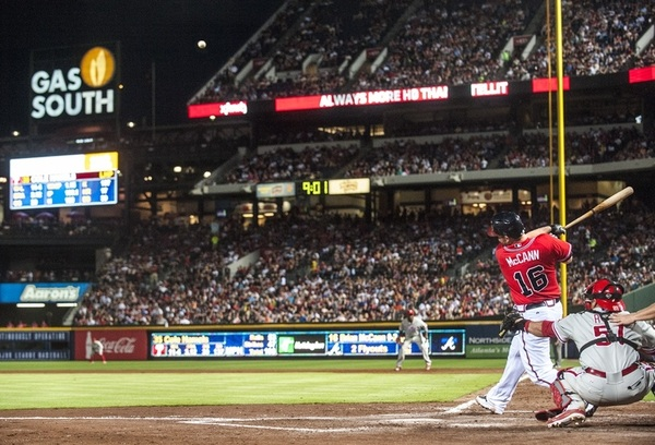 Photo of the Day:  Brian McCann hits a 3-run HR in last night's game and the Braves win 6-1. Via @BravesPhoto