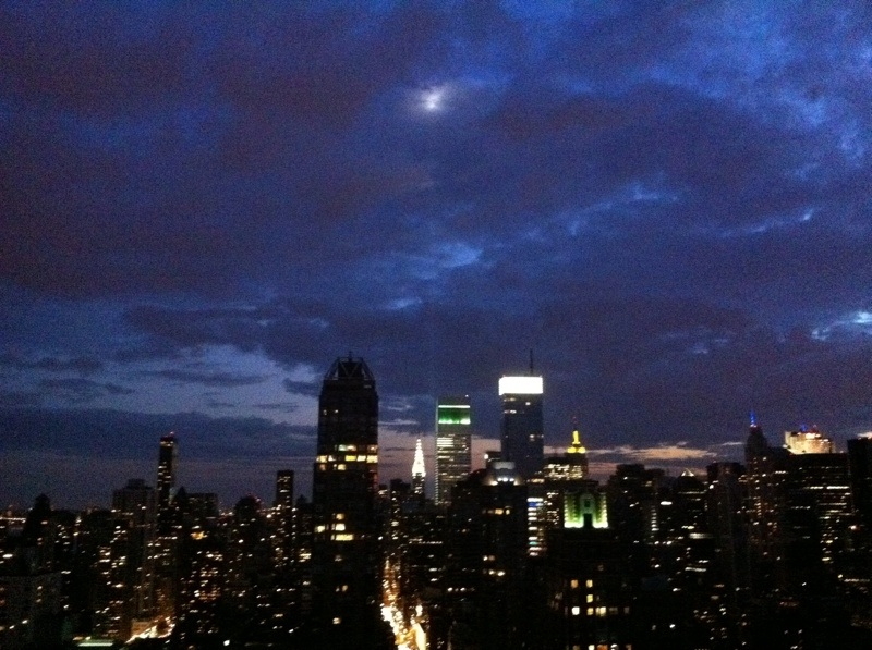 lights from the WTC lined up perfectly with the moon