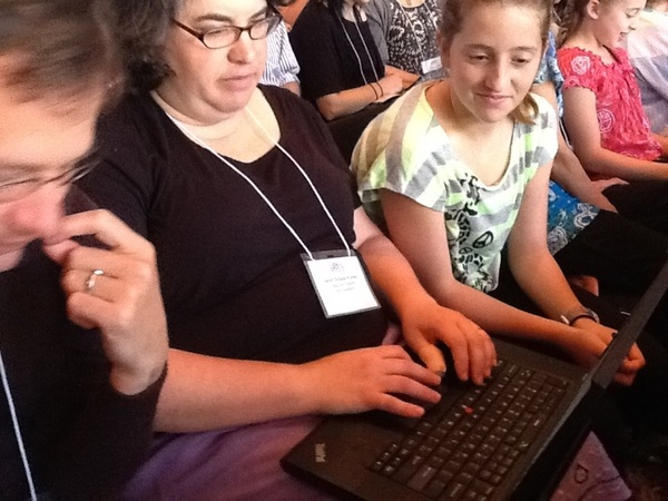 Students at @mjgds helping participants get on todaysmeet backchannel #edjewcon