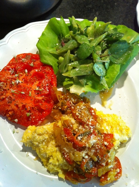 Made brunch: scrambled eggs w ricotta,melted leeks,rstd peppers,wild chiltepin. Heirloom tom,roma bean salad