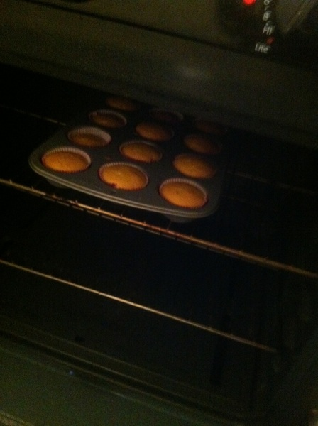I'm really up making cup cakes at 11:05 these kids got me on a dummy mission