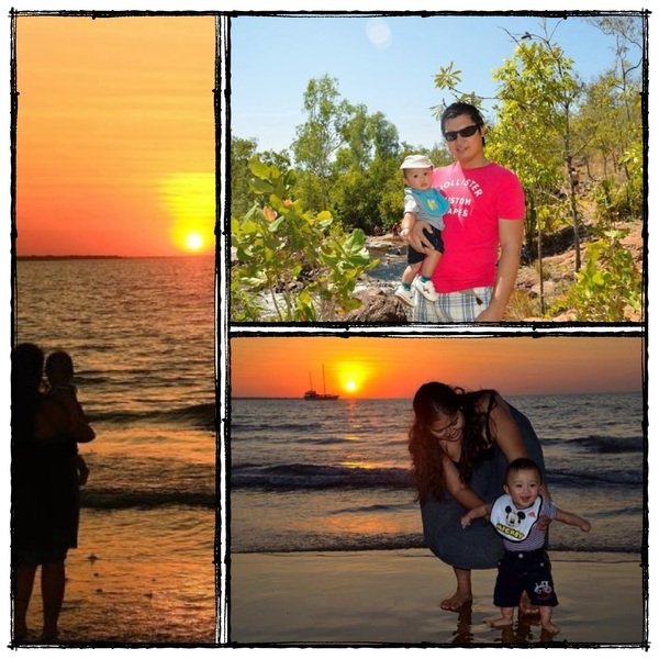 A beautiful sunset and a happy family. 