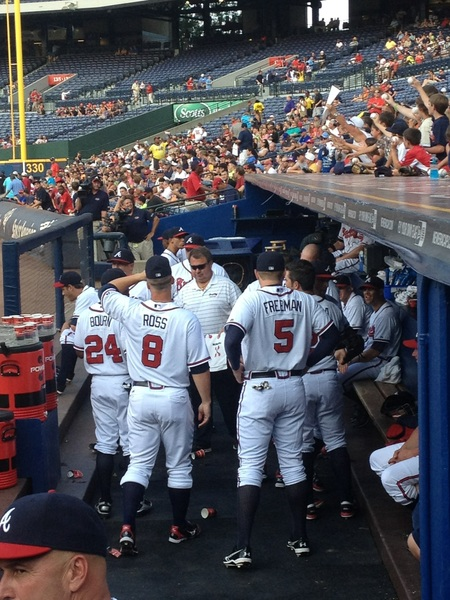 I spy: lots of high socks. Trying to break the curse?? #GOBRAVES!
