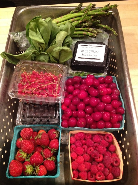 My Green City Mkt haul.Still trying to decide what to do with the red and black currants. Strawberries end in 1 week :(