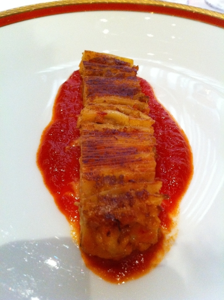 Del Posto: 100-layer lasagna with bolognese, tomato. Ethereal. 