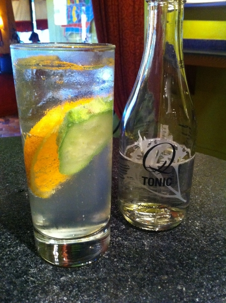 New drink tonight in Frontera/Topolo: MeroToro:  Northshore #6 gin, Q tonic, Chichicapa mezcal, orange, cuke