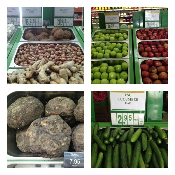 Abu Dhabi: In grocery stores we visited, every fruit/veg was labeled 4 origin.  Very little comes from Emirates.