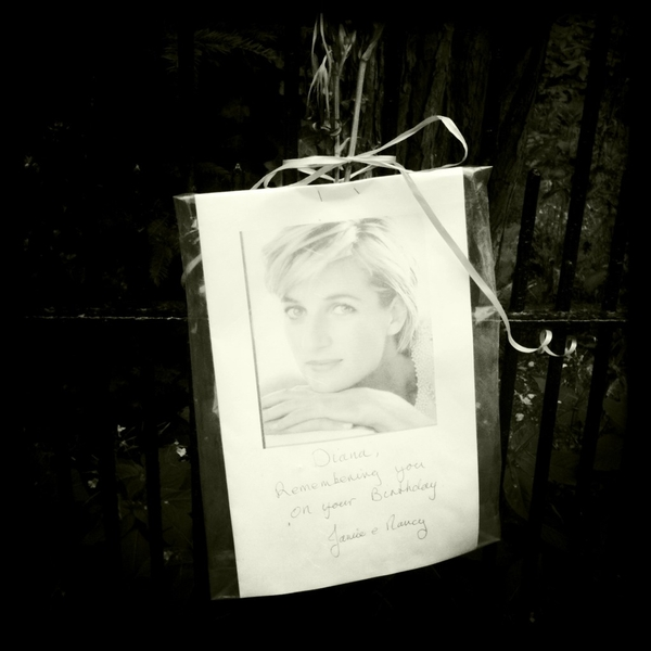 Princess Diana birthday memorial left by fans at Sandringham