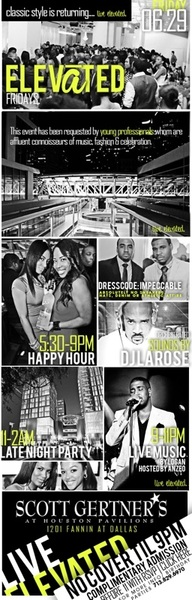 TONIGHT! elevAte Your FRIDAY NIGHT Xperience at Scott's Pavilion Skybar 281.813.6531 to RSVP