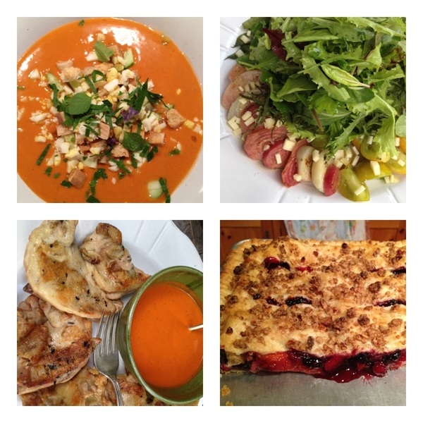 Made perfect summer din w friends!1st gazpacho,grld veg salad,rock hen w rstd red pepper salsa,apricot-bl rasp slab pie