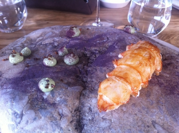 Noma standout#2: North Sea langoustine w oyster-parsley-seawater emulsion,dry purple söl seaweed pwdr.Eat w hands