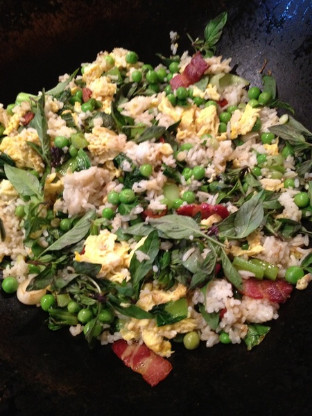 Back from LA, making Thai bacon'n'egg fried rice with a bunch of farmers mkt veg,Thai basil, fish sauce, sriracha