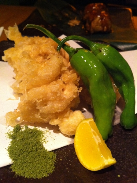 Sakagura: dish after delicious dish, but highlight: crispy cod milt w macha, yuzu &amp; shoehorn peppers